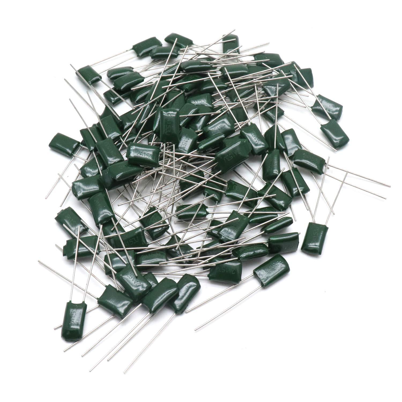 Yootop 100Pcs 2J102J 630V 5/% Tolerance 1000pF Capacitance Radial Leads Through Hole DIP Mylar Polyester Film Capacitors