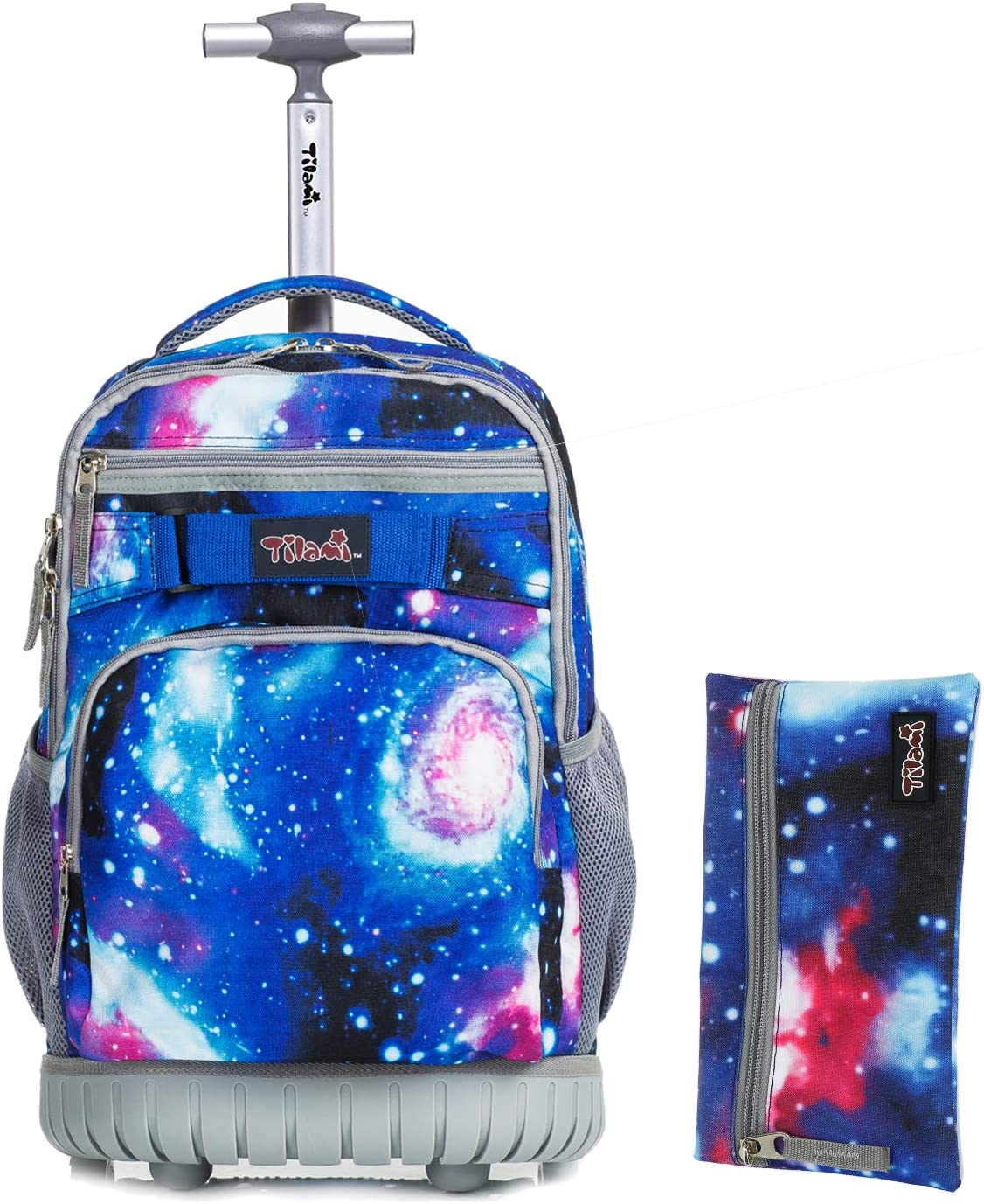Tilami Rolling Backpack 18 inch with Pencil Case Wheeled Laptop Bag, Galaxy