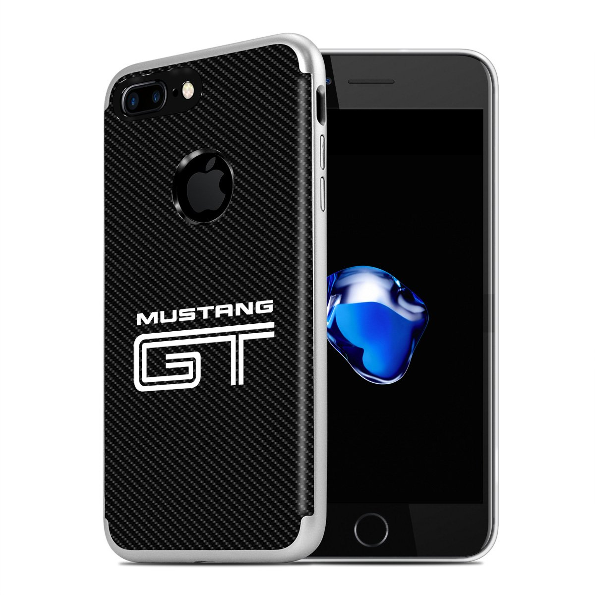 Amazon com iphone 7 plus case ford mustang gt pc tpu shockproof black carbon fiber textures cell phone case cell phones accessories