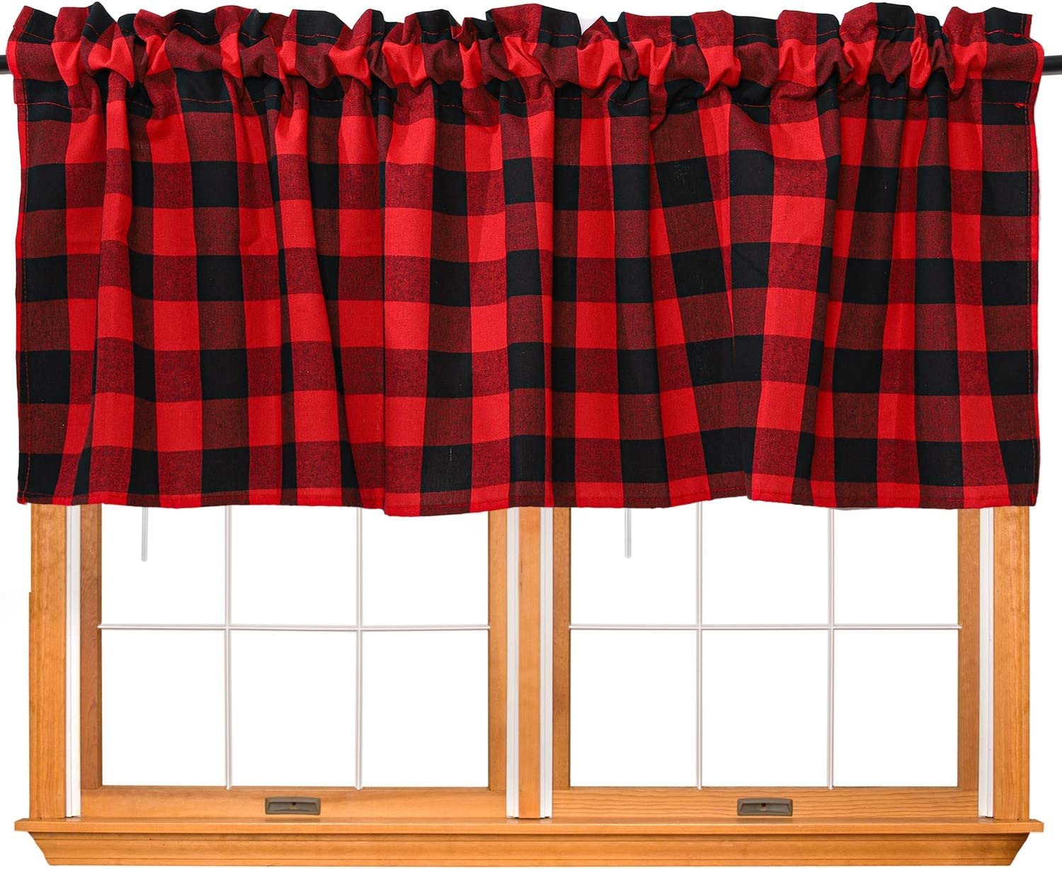 URATOT 1 Piece Buffalo Plaid Valance Red and Black Plaid Window Curtain Valance for Kitchen Buffalo Checkered Curtain Valance, 52 x 18 Inches