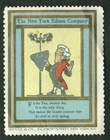 New York Edison F Is For Electric Fan Cinderella Stamp 1910s At