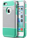iPhone 5S Case, iPhone 5 Case,iPhone SE Case,ULAK Slim Fit Protection Case Shockproof Hard Rugged Ultra Protective Back Rubber Cover with Dual Layer Impact Protection(Minimal Mint Stripes)