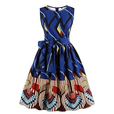 17d71474d84ad Wellwits Women's Waist Tie Stripes Ethnic African Print Vintage Swing Dress  S