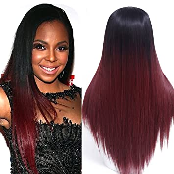 24   Long Ombre Wig Black Ombre Burgundy Synthetic Wigs For Black Women  Long Straight a2d2ba2496