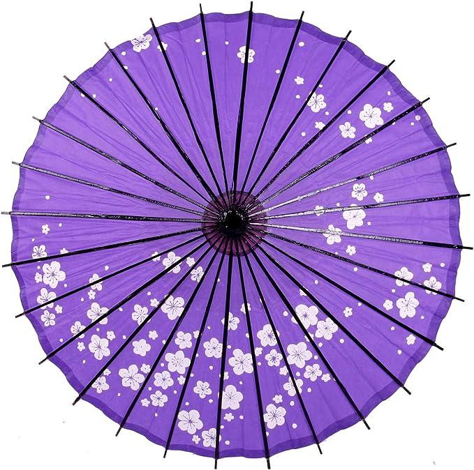 Smiti 和傘 紙傘 日傘 油引き 直径84cm 梅花 紫 黒骨