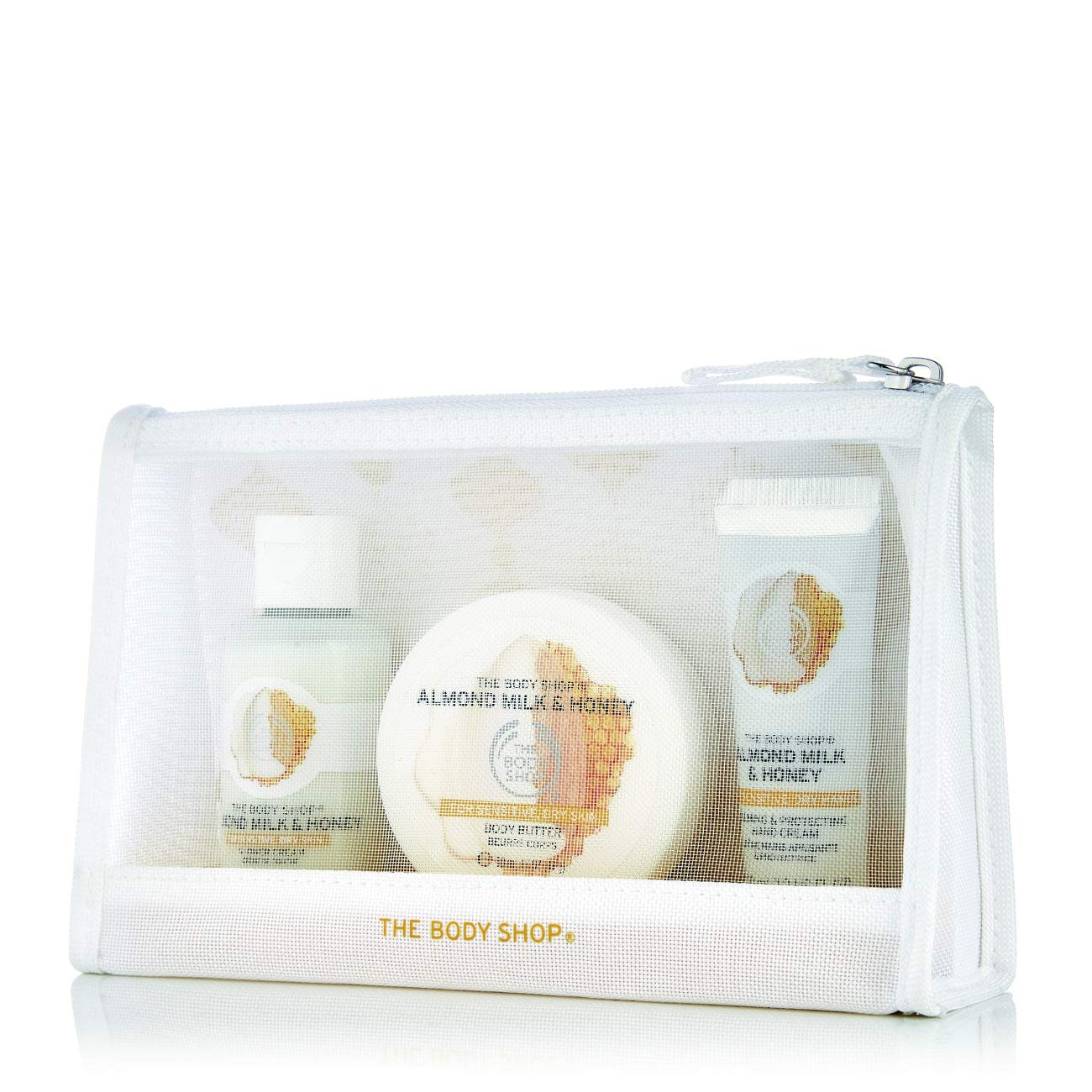 The Body Shop Almond Milk and Honey Beauty Bag Gift Set, 3pc Bath and Body Gift Set, Dermatologically Tested for Dry, Sensitive Skin