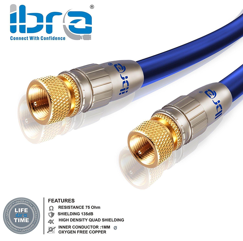 2m cable de antena / SAT / IBRA cable de satélite HDTV | cable coaxial | HDTV / Full HD | resistencia: 75 ohmios | Azul: Amazon.es: Electrónica