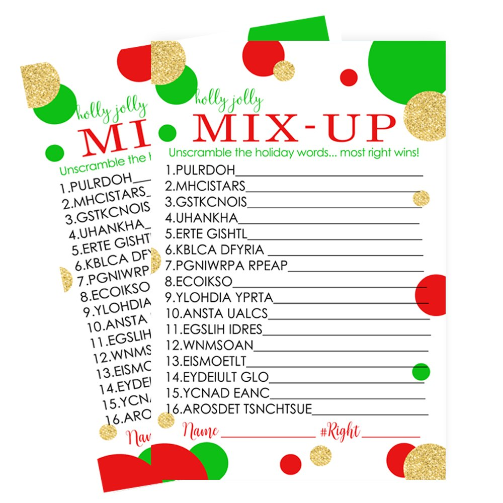 Red and Gold Christmas Word Scramble Party Game Set (25 Pack) by Paper Clever Party (Image #5)