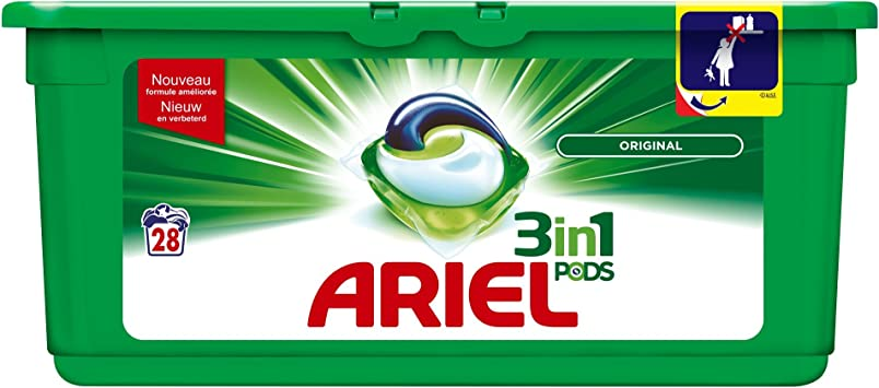 Ariel 3 en 1 Pods Original Cápsulas de Detergente - 28 Lavados ...