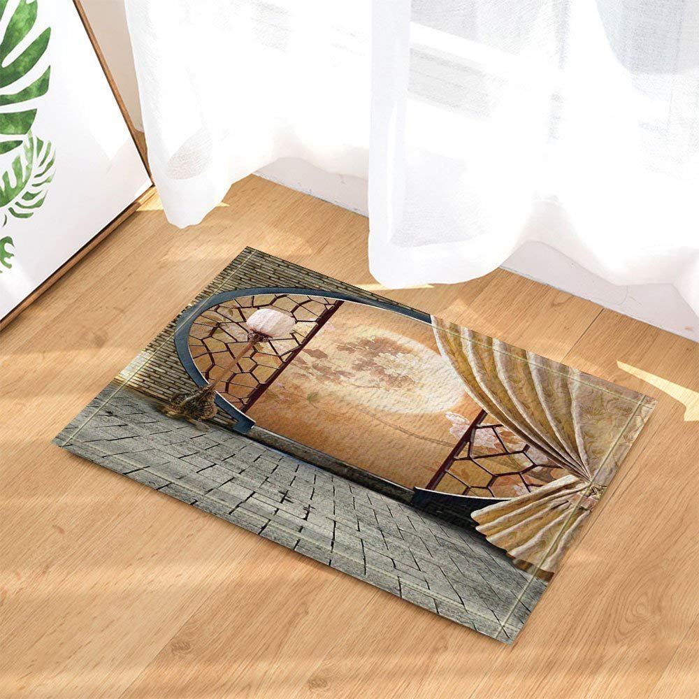 Asian Decor Chinese Culture Peony Print on Screen with Brick Wall Behind Curtain Bath Rugs Non-Slip Doormat Floor Entryways Indoor Front Door Mat Kids Mat 15.7x23.6in Bathroom Accessories