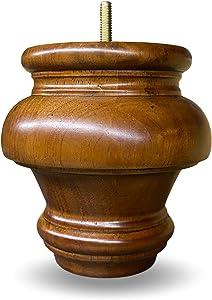 "5"" Solid Wood Turned Round Bun Legs Medium Walnut Finish 5/16"" Bolt - Set of 4"