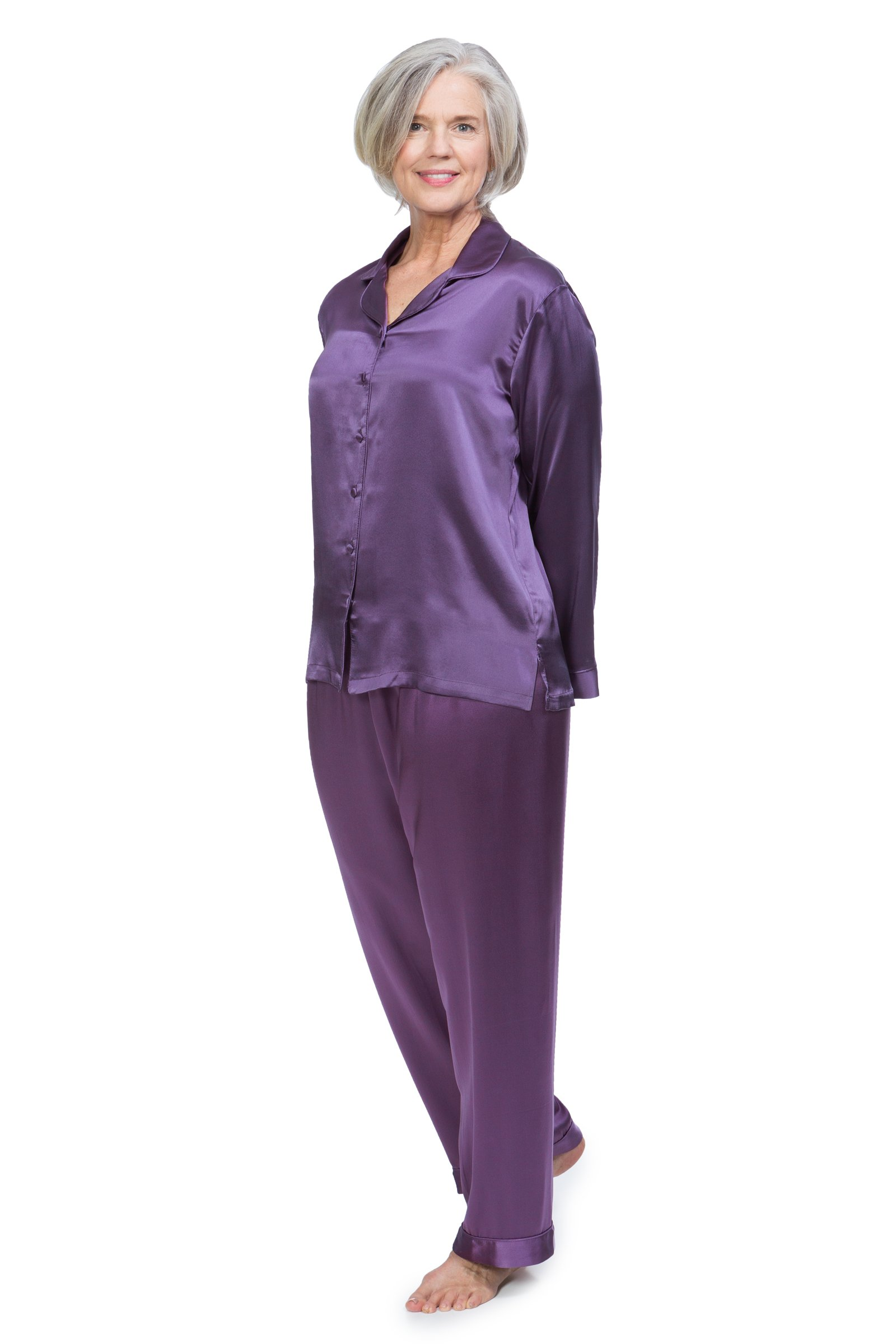 TexereSilk Women's 100% Silk Pajama Set - Luxury Sleepwear PJS (Morning Dew, Grape, X-Large/Petite) Popular Gifts For Mom Sister Wife WS0001-GRP-XLP