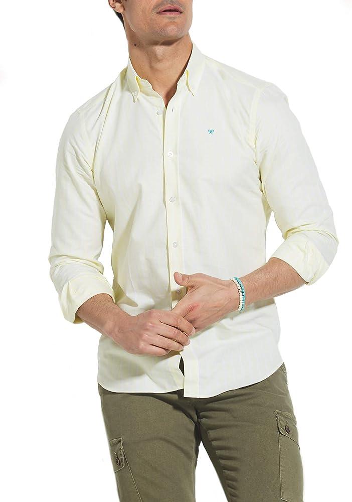SILBON - Camisa Sport Raya Ancha Amarilla, Hombre, 100% Algodón L: Amazon.es: Ropa y accesorios