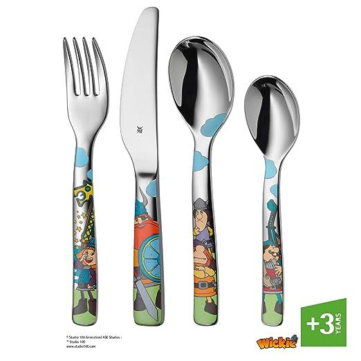 WMF Vicky el Vikingo - Cubertería para niños 4 piezas (tenedor, cuchillo de mesa, cuchara y cuchara pequeña) (WMF Kids infantil)