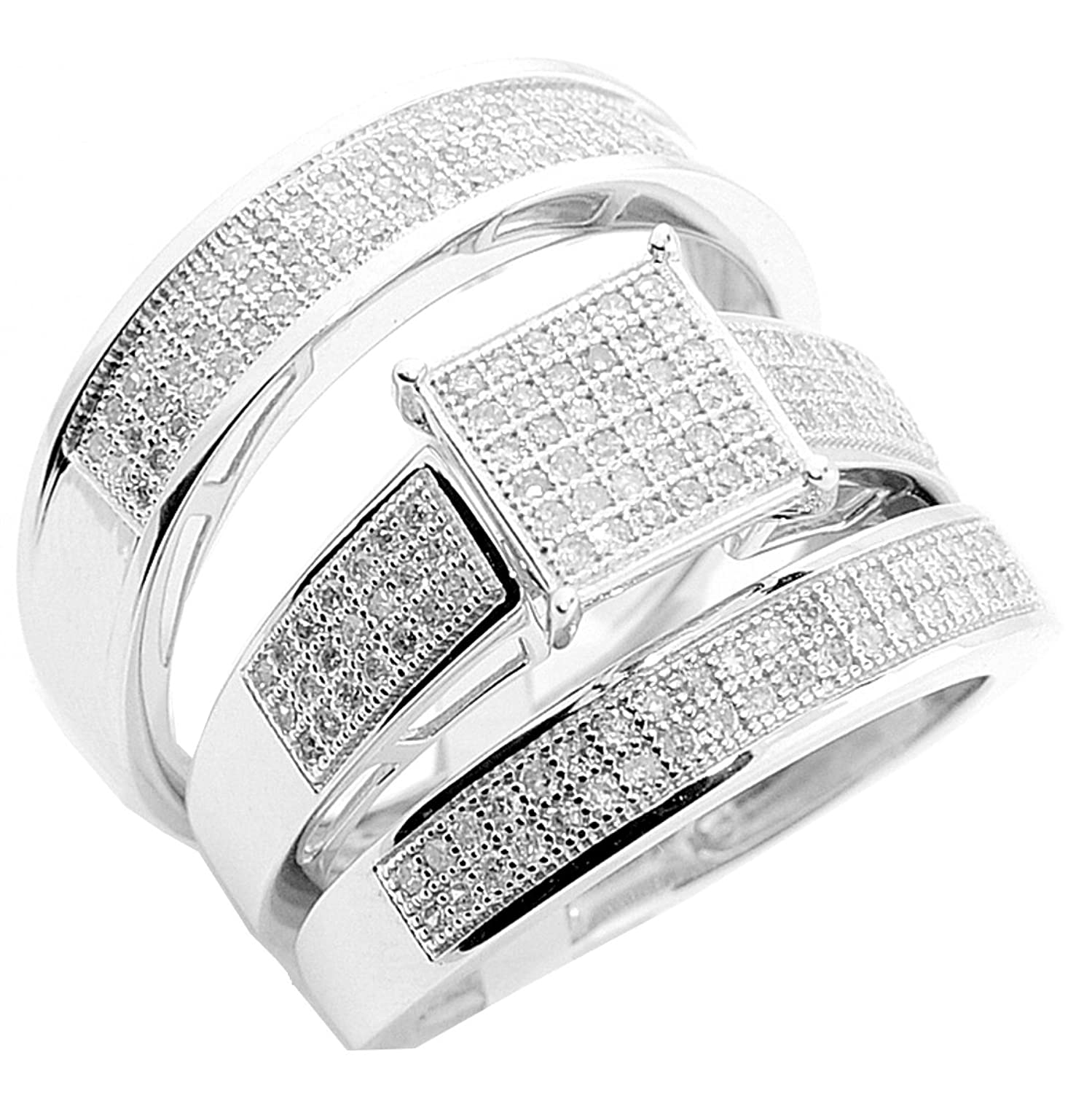 Amazon Trio Wedding Set 3 piece White gold 10K 0 60ctw Mens