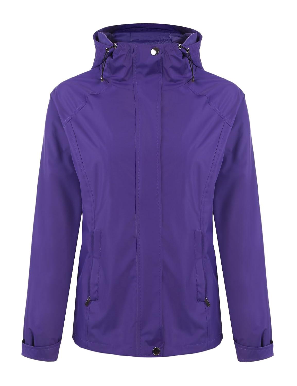 Meaneor Women's Long Sleeve Zip Up Hoodie Waterproof Rain Jacket Venture Jacket AMH005134#