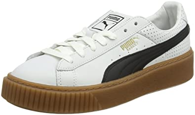4d92dd88e382 Puma Damen Basket Platform Perf Gum Sneaker, Weiß White-Black-Gold, 36