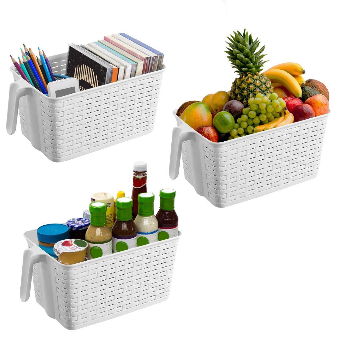 Kurtzy 3 Pack (30x19x14.5 cm) White Plastic Storage Basket - Stationary Organizer, Kitchen Pantry storage organisers, Cupboard, Refrigerator Storage Basket with Handle.