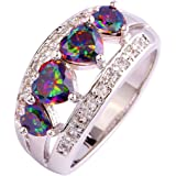 lingmei 5mm5mm Heart Cut Cz Created Rainbow & White Stones Women's Ring US Size