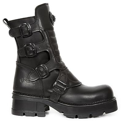 New Rock Crust Negro Leather Leather Negro Hombre Botas 0121d6