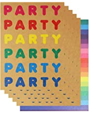 Kraft Rainbow Party Invitations - Pack of 10