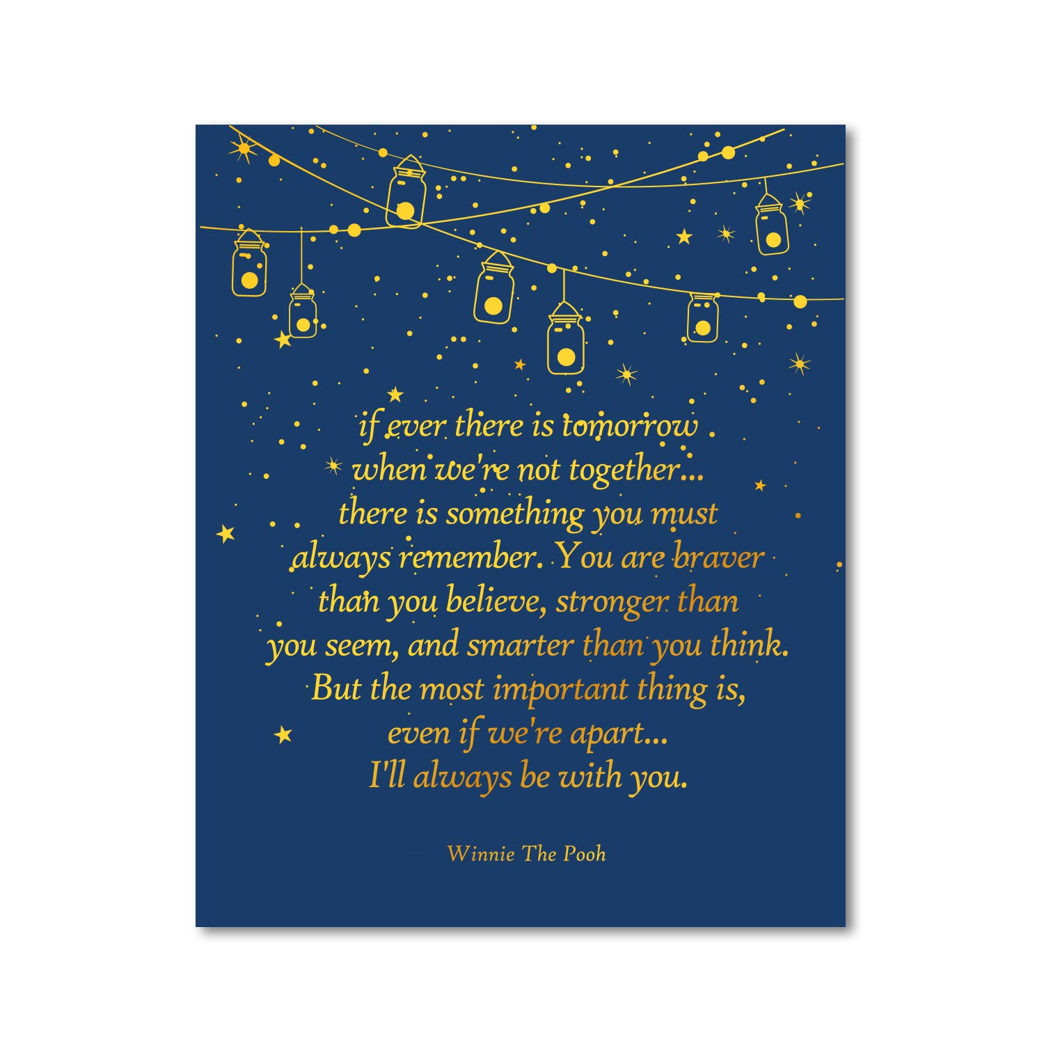winnie the pooh quote gold foil print inspirational quotes