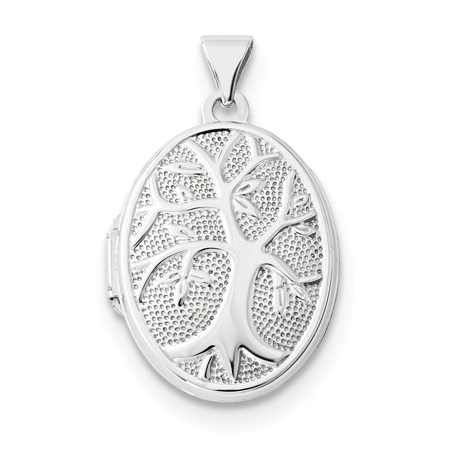 Roy Rose Jewelry 14K White Gold 21x16mm Oval Tree Locket by Roy Rose Jewelry