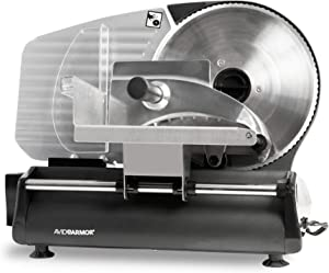 """Meat Slicer 8.7"""" Stainless Steel Serrated Blade Electric Built In Thickness Control Perfect for Food like Meat, Deli Items, Jerky, Cheese, Bread and More for Home Use Easy to Clean Avid Armor"""
