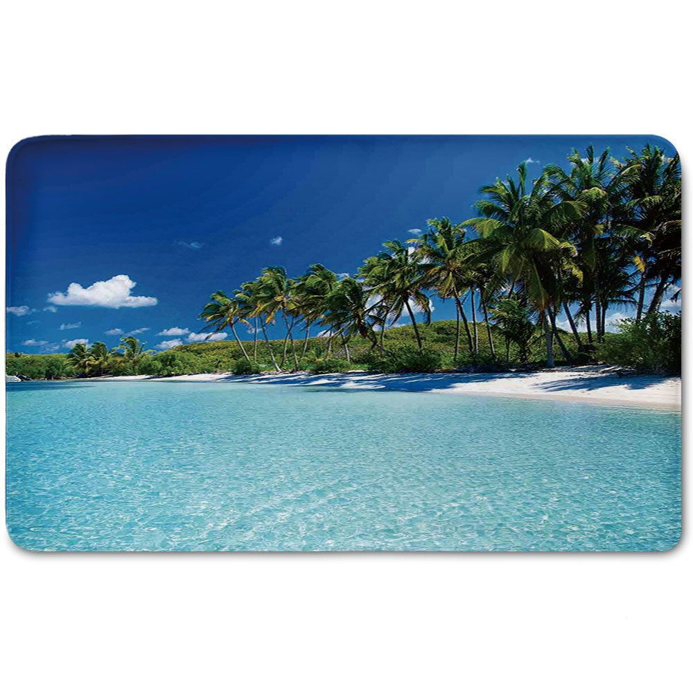 Memory Foam Bath Mat,Ocean Decor,Relax Beach Resort Spa Palm Trees and SeaPlush Wanderlust Bathroom Decor Mat Rug Carpet with Anti-Slip Backing,