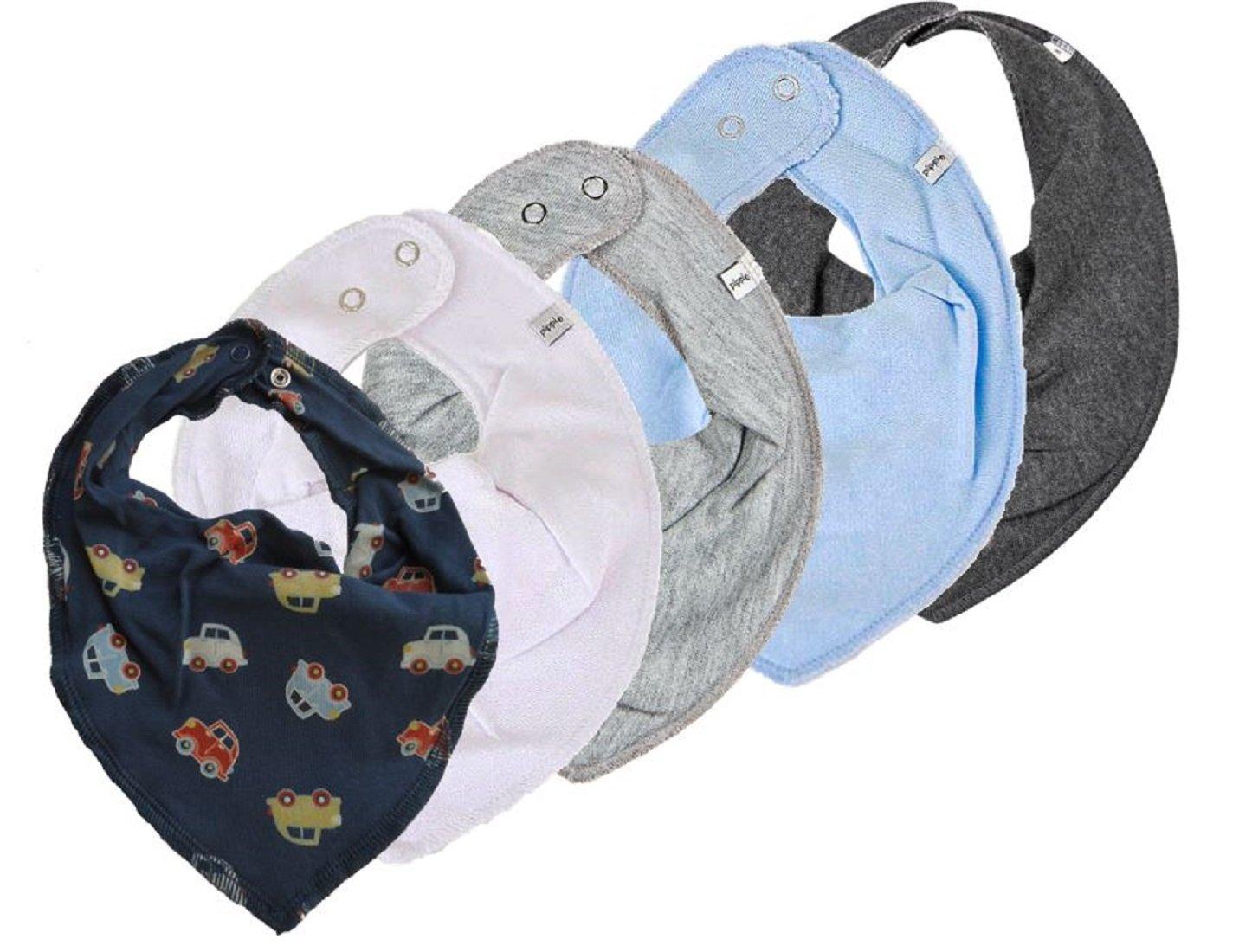 ★ PIPPI ★ 4er Super Set Baby HALSTUCH Dreieckstuch 4 Stück WINTER mit weiss / grau / hellblau / steingrau ★ + 1 Halstuch mit Fleece GRATIS (Autos auf blau)