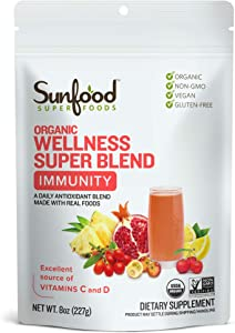 Sunfood Superfoods Wellness Super Blend- Immunity Drink Powder. Organic, Plant-Based Blend of Superfoods & Mushrooms. Mix with Water. 8 oz