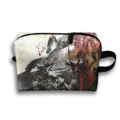 Artistic Wolf Tiger Painting Travel Bag Cosmetic Bags Brush Pouch Portable Makeup Bag Zipper Wallet Hangbag Pen Organizer Carry Case Wristlet Holder