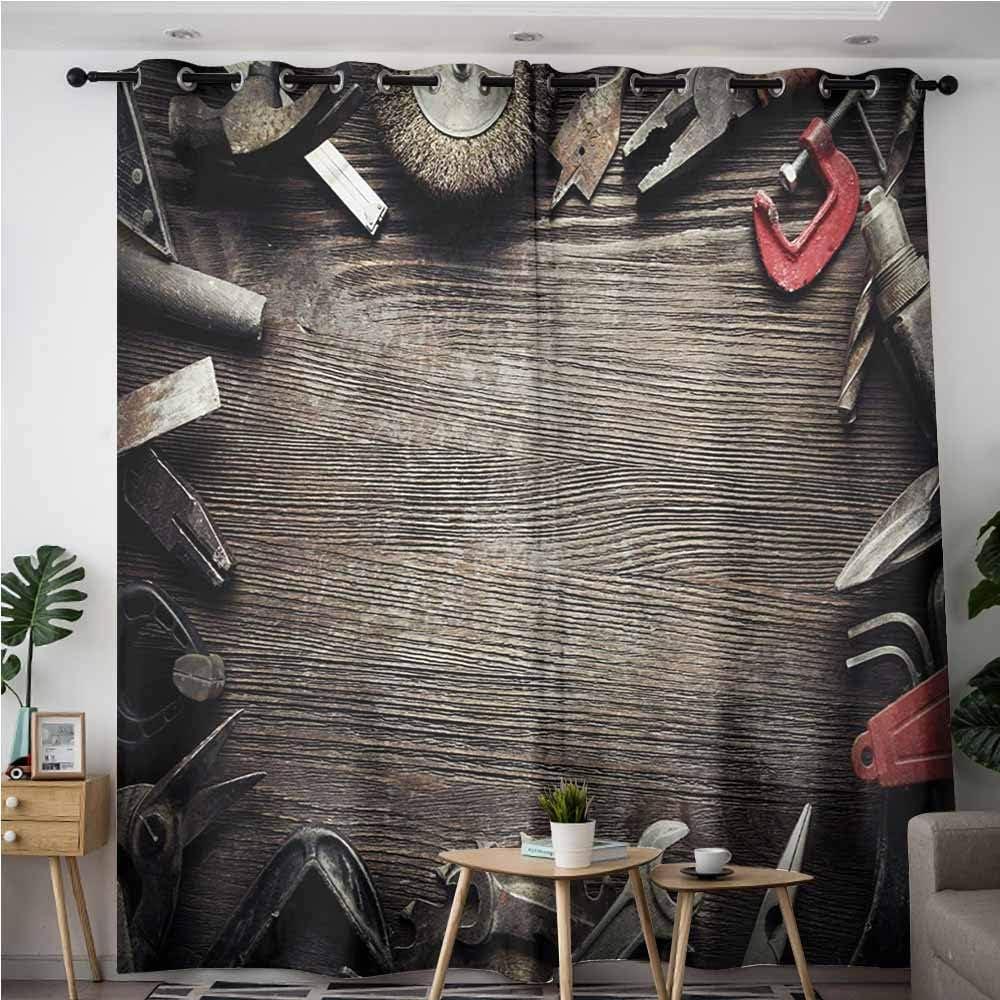 VIVIDX Cortinas para puerta corredera, entrada industrial de un edificio antiguo de fábrica de 50 s roto Rusty puerta vacía de almacenamiento de fotos, cortinas opacas para recámara, color gris y marrón: