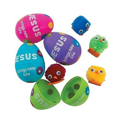12 per Set 10 Commandments Plastic Easter Eggs with Card