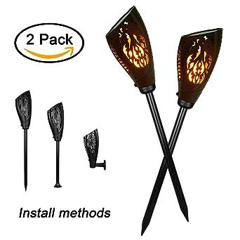 Creation 2er Set Solarleuchten Gartenfackeln Solar Licht Lampe 99 LED  Flackerlicht Fackel Tanzen Flamme Mit Eingebauter