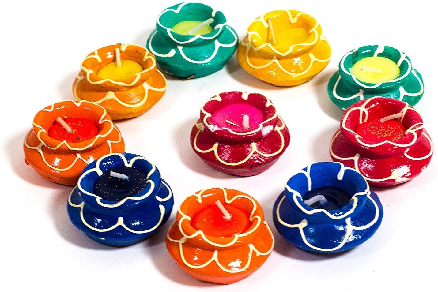 Decorative Colourful Set of Matki Diyas for Diwali