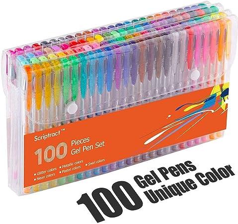 Scriptract Bolígrafos de Gel de Colores con Estuche 100 Colores Únicos para Adultos Niños Incluido Purpurina, Metálico, Neón y Clásicos para Escribir, Dibujar, Subrayar y Colorear: Amazon.es: Oficina y papelería