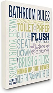 The Stupell Home Décor Bathroom Rules Aqua Blue Green and Purple Typography Stretched Canvas Wall Art, 16x20, Multi-Color