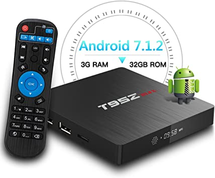 T95Z MAX Android TV Box, 3GB RAM/32GB ROM Android 7.1.2 Octa Core 64 bits A53 Procesador Smart TV Box Soporta 4K Resolución 2.4GHz/5GHz Dual Band WiFi 1000 Ethernet LAN: Amazon.es: Electrónica