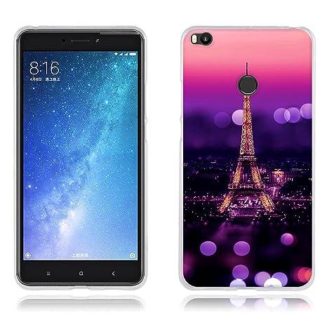 FUBAODA Funda Xiaomi Mi MAX 2 Carcasa de Silicona Transparente TPU, Escena Nocturna de la Torre Eiffel, Flexible Amortigua los Golpes, Funda ...