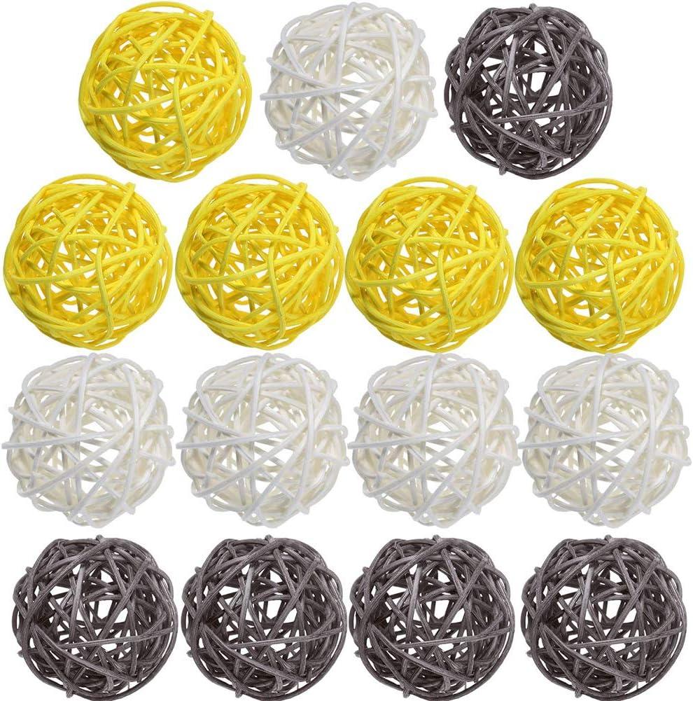 de Bureau TSLBW Lot de 15 Boules de rotin en Osier m/élang/é pour d/écoration de Table de f/ête pr/énatale
