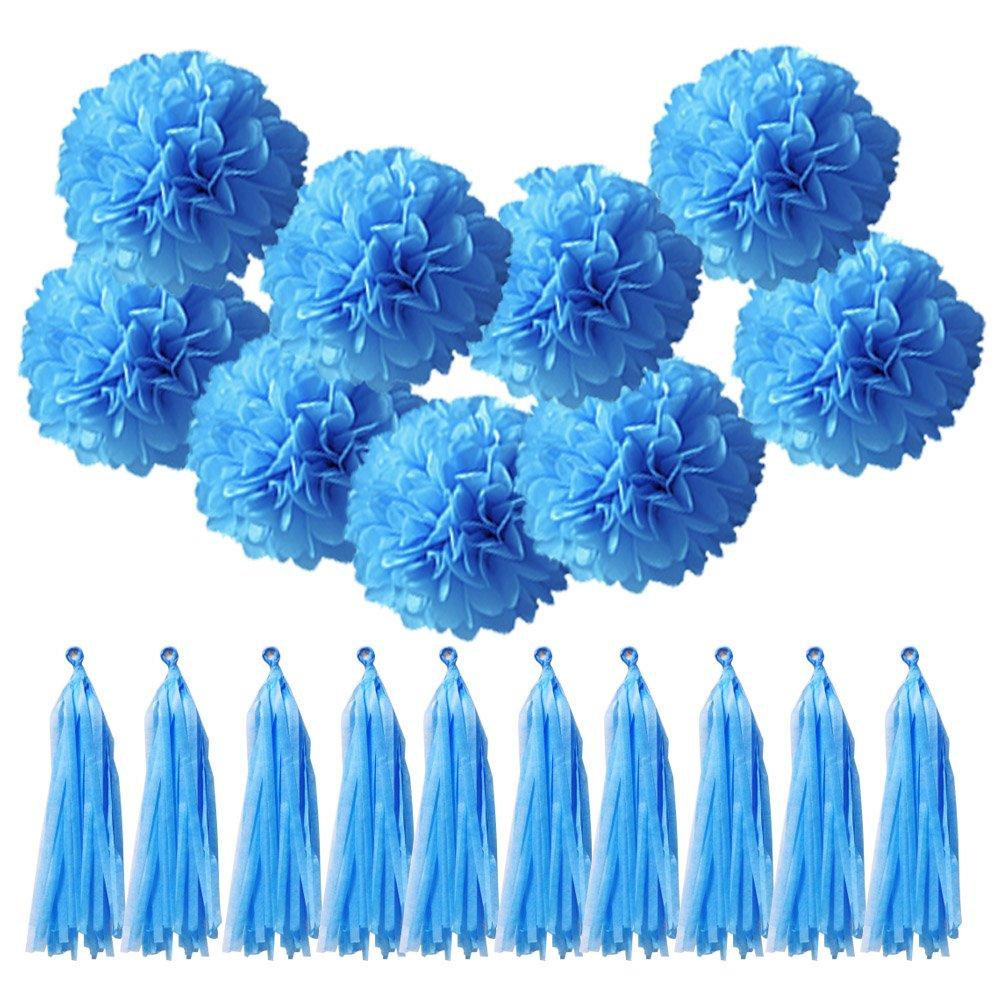 Qucher 10 pezzi di carta velina pompon fiore fatto a mano fai da te Decorazione di nozze festa di compleanno reception decorazioni + 10 pezzi nappe della carta