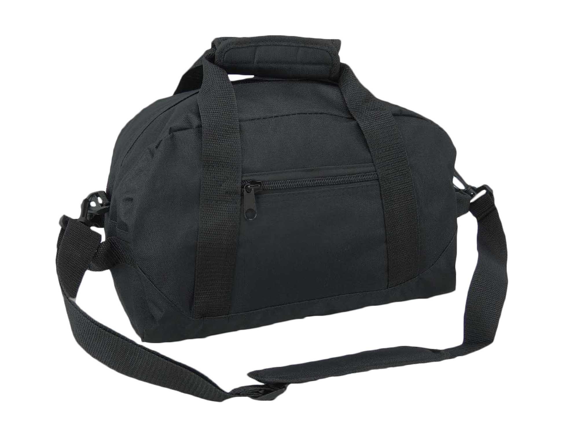 DALIX 14'' Small Duffle Bag Two Toned Gym Travel Bag (Black) by DALIX