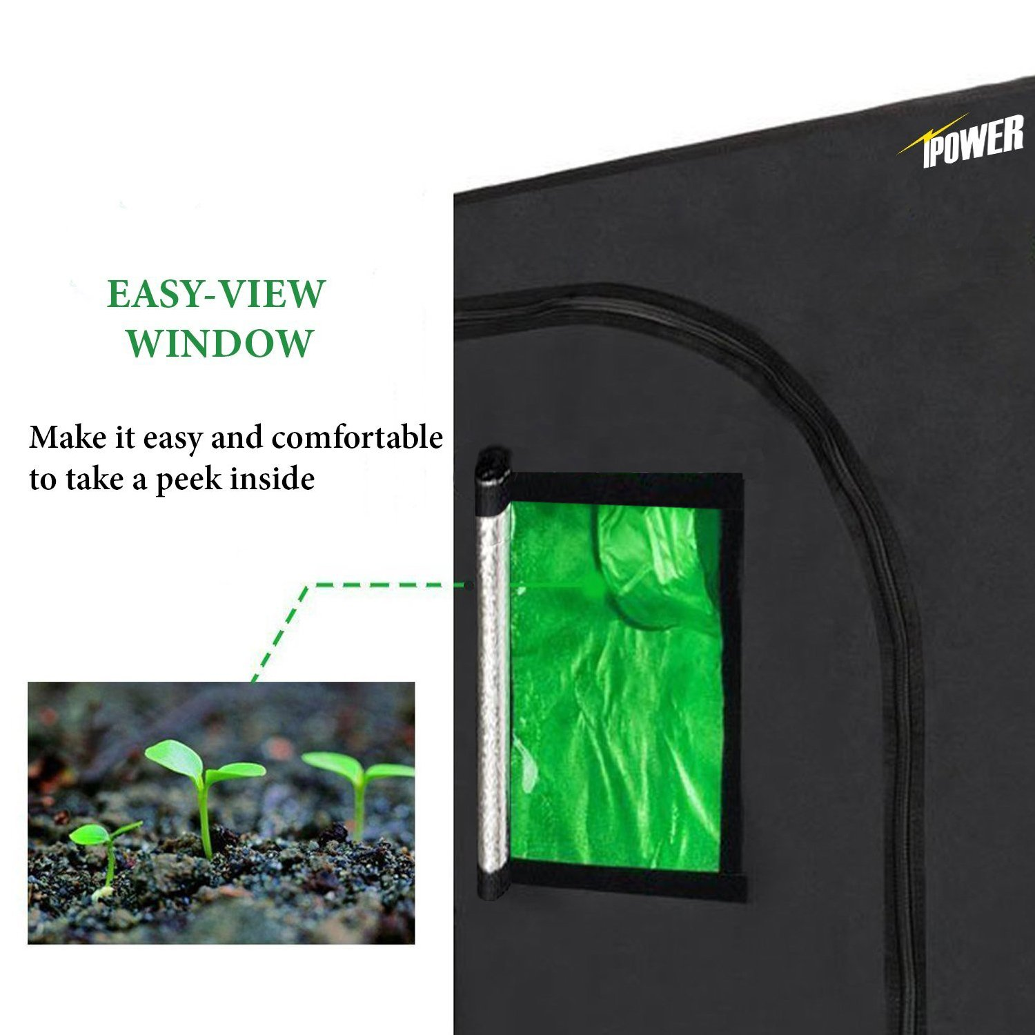 iPower 48''x48''x78'' 4'x4' Hydroponic Mylar Grow Tent with Observation Window, Tool Bag and Floor Tray for Grow Light and Indoor Plant Growing by iPower (Image #3)