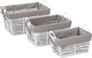 Home Zone Living Storage Nursery Basket with Cloth Liner, Great for Toys Blankets and Magazines, Sturdy Metal Frame Design, Set of 3 (White)