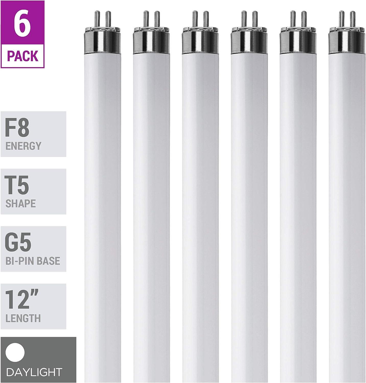 """(Pack Of 6) F8T5/D - T5 Fluorescent 6500K Daylight - 8 Watt - 12"""" Super Long Life Light Bulbs"""
