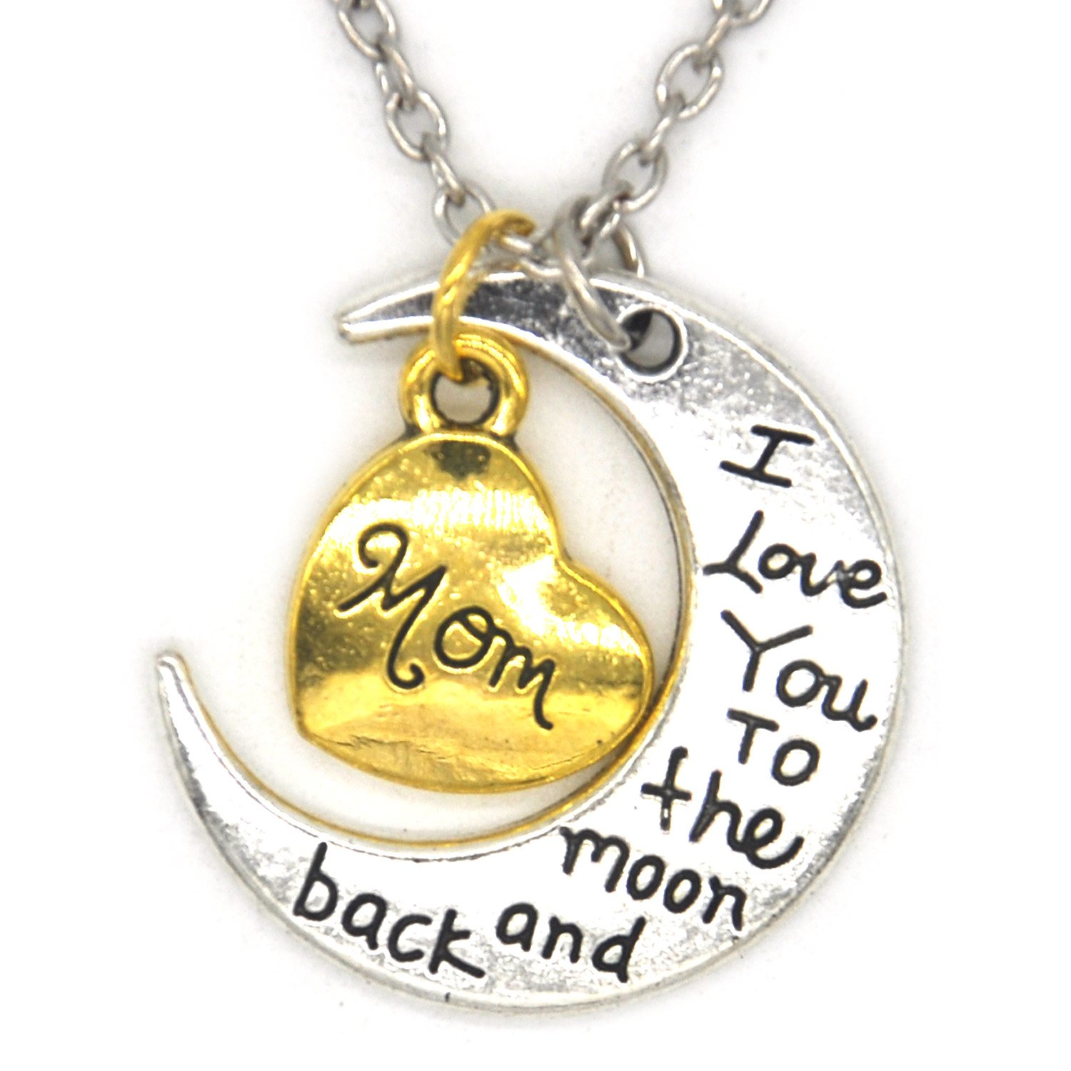 Mom I Love You To The Moon And Back Family Member Engraved Letter Necklace Bracelet