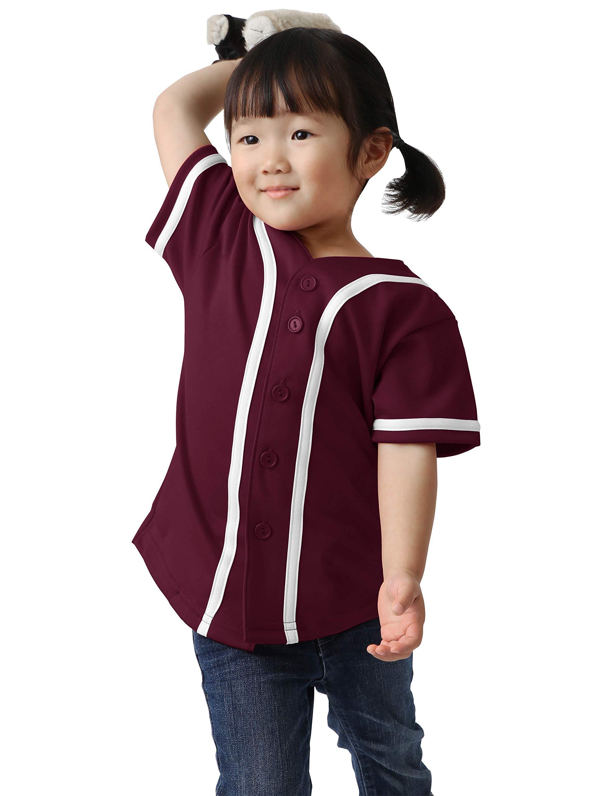 Ma Croix Kids Premium Baseball Jersey Active Button Shirt Team Uniform Little League (12 Month, 5up01_Bug.WHI) by Ma Croix