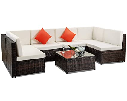 Amazing Amazon Com Buyerfirst Patio Furniture Set Pe Rattan Pabps2019 Chair Design Images Pabps2019Com