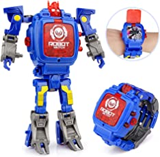 Baztoy Transform Toys Watches for Kids 2 in 1 Deformation Robot Toys Kids Digital Watch for 3,4,5-10 Years Old Boys Girls Electronic Wristwatch Learning Gifts